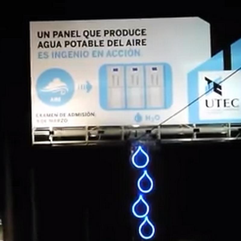 La cartelera que produce agua