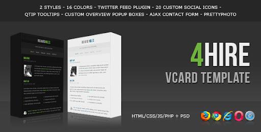Premium virtual business card html templates 4hire elegant vcard 4hire elegant vcard template virtual business card personal wajeb Images