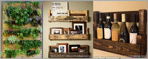 Scrap wood pallets can be turned into beautiful and functional decor! CLICK to enlarge image.