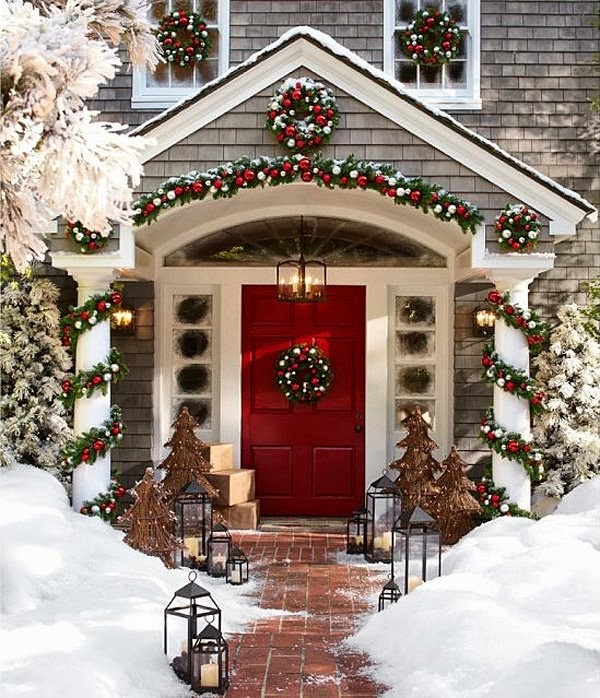 Christmas front porch decorating ideas 2015 for Front porch christmas decorations ideas