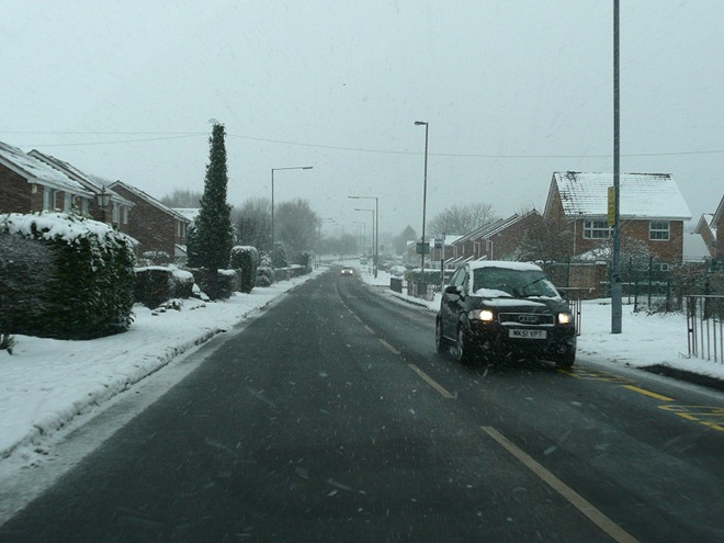 Бирмингем. Снежная дорога.