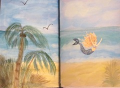 Sea journal watercolor double page w mermaid 4.2013