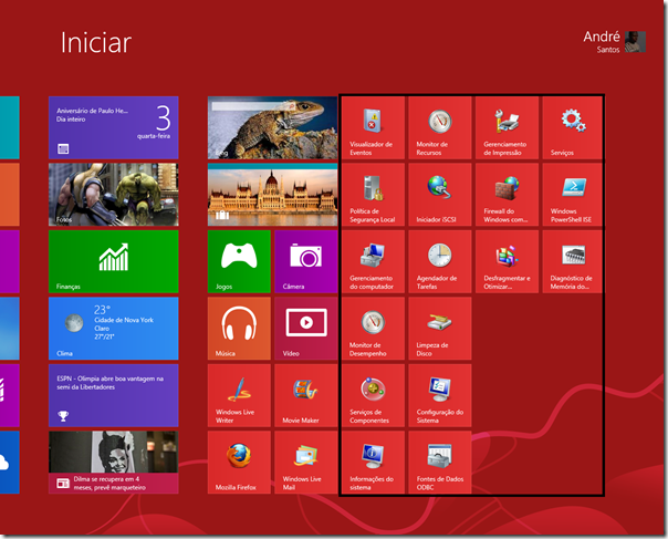 Atalhos de ferramentas adminstrativas do Windows 8 exibidos na tela inicial