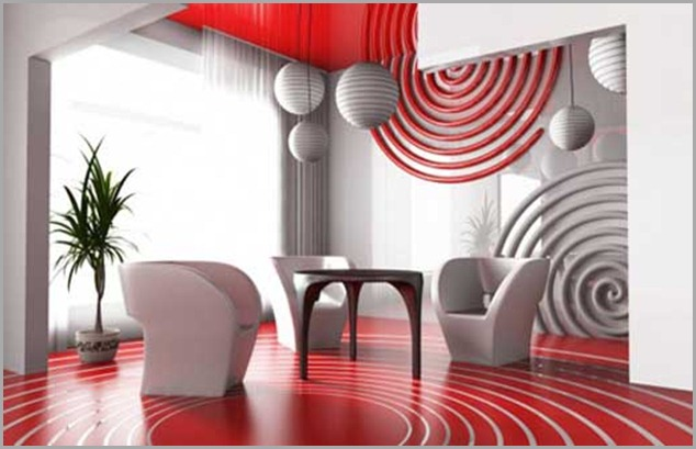 Beautiful-Living-Room-With-Red-floor