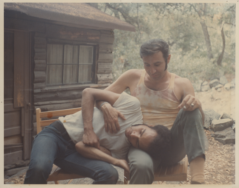 Pat Rocco outside his cabin on Mount Baldy with a friend. Undated