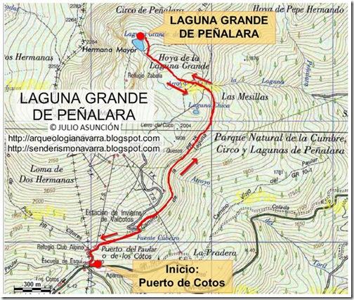 Mapa Laguna grande de Peñalara
