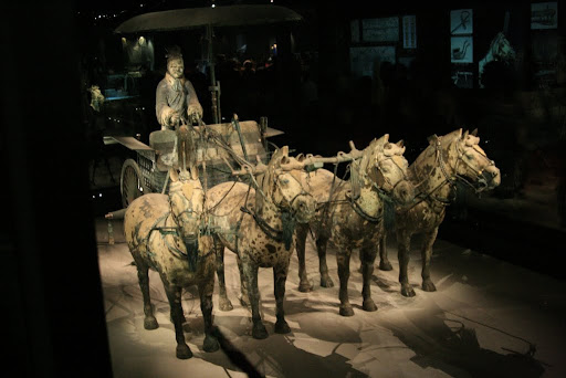 Emporer Quin's Horses and Chariots, buried with him and painstakingly reconstructed.