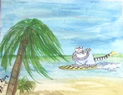 Kliban cat surfing wc post card