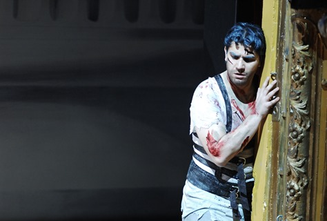 Saimir Pirgu in the title rôle of Mozart's IDOMENEO at Opernhaus Zürich, 2010 [Photo by Susanne Schwiez; used with permission]