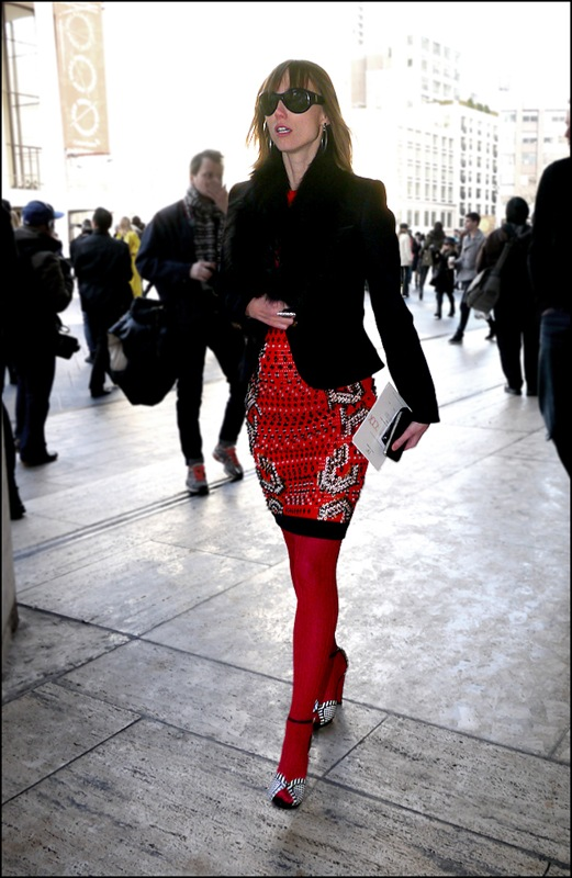 30 Anya Ziourova red black white print dress short black jacket fur collar red leggings black and white heels ol