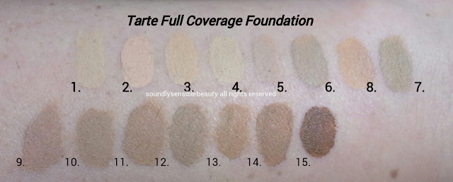 Tarte Amazonian Clay 12 Hour Full Coverage Foundation Shade Swatches Fair/Fair Sand, Ivory, Fair/Light Honey, Light Sand, Light Beige, Light Neutral, Light/Medium Honey, Light/Medium Sand, Light/Medium Beige, Medium Sand, Medium Honey, Medium/Tan Honey, Tan Honey, Tan/Deep Honey, Deep Sand