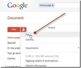 caricare file zip rar google documenti