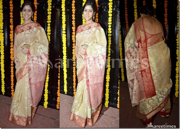 Sakshi_Tanwar_Cream_Saree