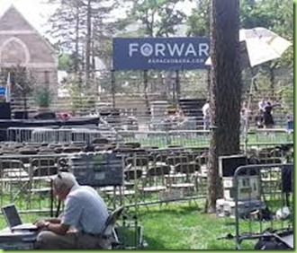 forward with empty chairs
