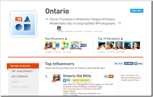 Ontario Klout Topics Page