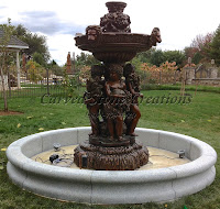 10' Round Contour Fountain Pool Surround, Bianco Catalina