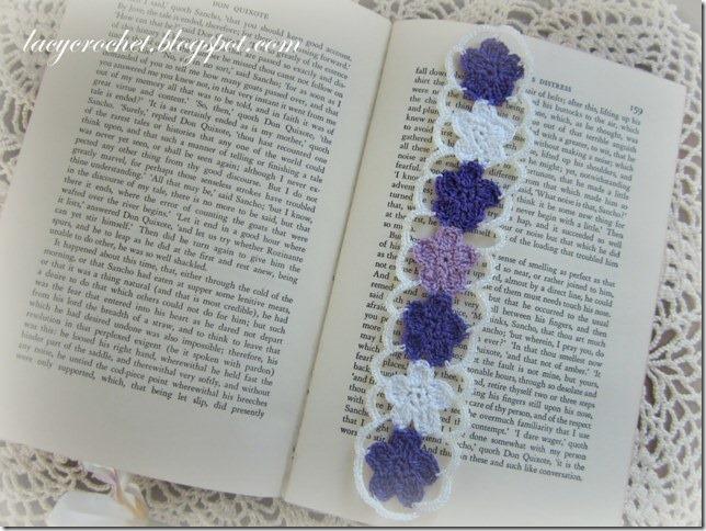 crochet flower bookmark