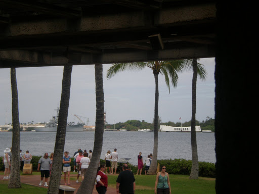 view of the USS Arizona memorial in the distance