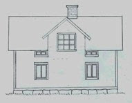 Fasadritning, frontespis efter ombyggnad