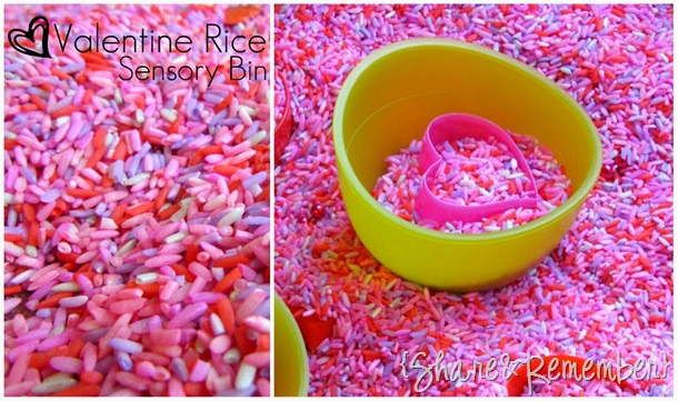 Valentine Rice Sensory Bin