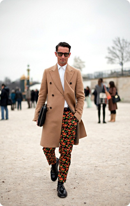 Paris Fashion Month Street Style Men Simone Marchetti- red floral print pants- mens