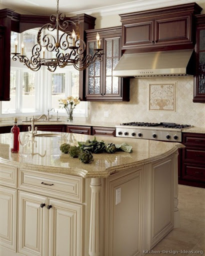 Simple cherry kitchen white island