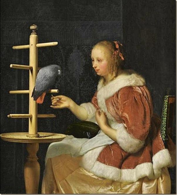 Ecole flamande, Femme au perroquet