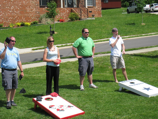Playing corn hole @ Derby Party in Smyrna, TN