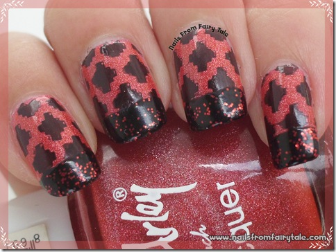 black and red french manicure with stamping 2