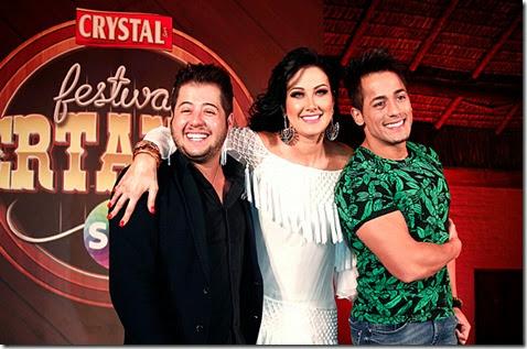 Hugo & Tiago com Helen Ganzarolli (Divulgação)