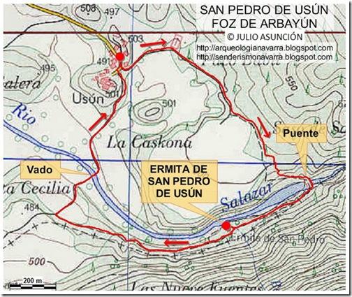Mapa San Pedro de Usún - Foz de Arbayún