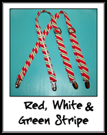 red, white & green stripe suspenders