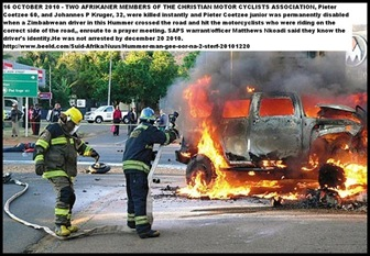 MURDER IN TRAFFIC HUMMER PRETORIA NORTH OCT2010 WHICH KILLED TWO AFRIKANERS AND INJURED THIRD