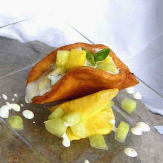 Dessert Tacos with Mascarpone Filling and Pineapple Honey Dew Salad