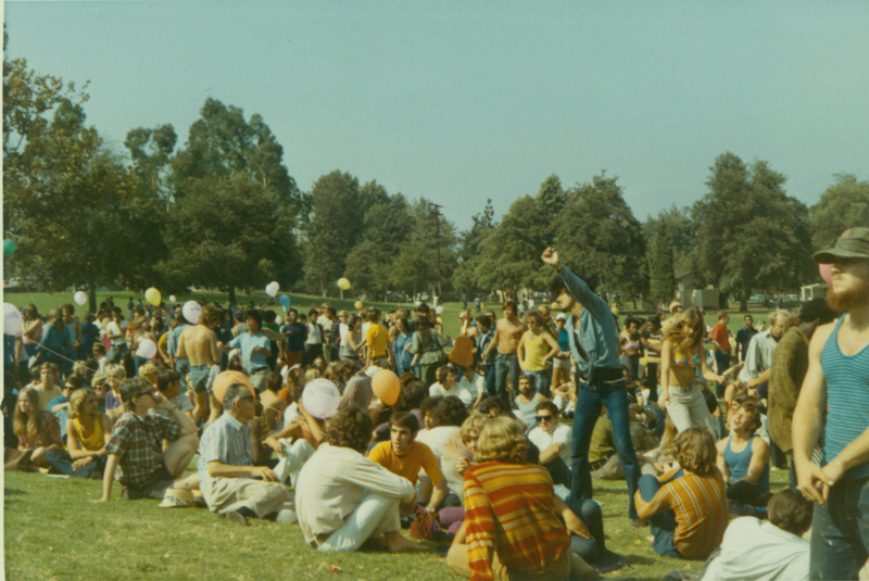 Crowd gathers at the Gay-In at Griffith Park, Los Angeles. 1970.