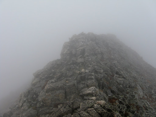 On the foggy ridge to Pauite. Visibility dropped to about 200 feet or less on this easy traverse.