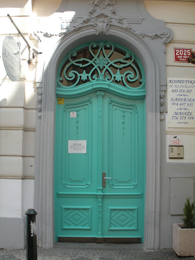 This is such an exciting color for a door. (Prague)