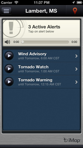 Imap weather screen