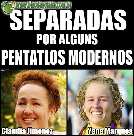Separadas por alguns pentatlos modernos: Claudia Jimenez e Yane Marques