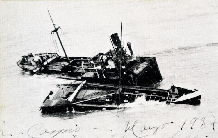 29 de marzo de 1937. El MAR CASPIO destrozado. Foto del libro LA MARINA MERCANTE Y EL TRAFICO MARITIMO EN LA GUERRA CIVIL.jpg