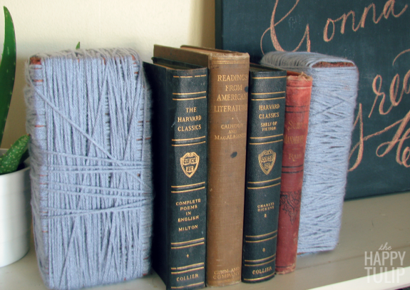 wrapped brick bookends