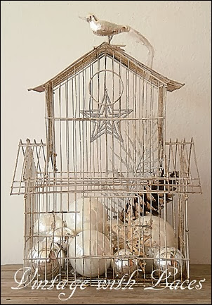 Shabby White Birdcage with Christmas Decoration