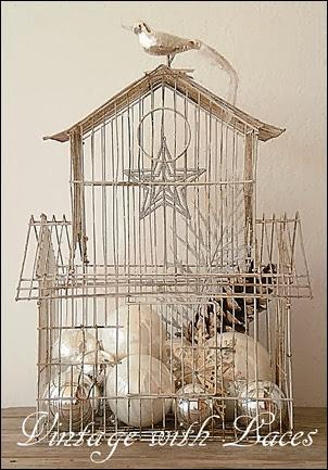 Shabby White Birdcage with Christmas Decoration