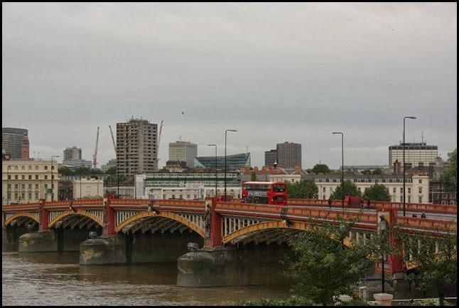 Vauxhall bridge on a rainy Sunday morning
