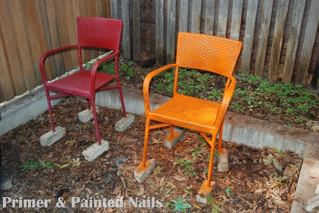 Painted Patio Chairs - Primer & Painted Nails