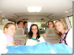 From the front of the van working back, left to right: Rob, Andrew, Jannah, Jessica, Rachel, and Juliana