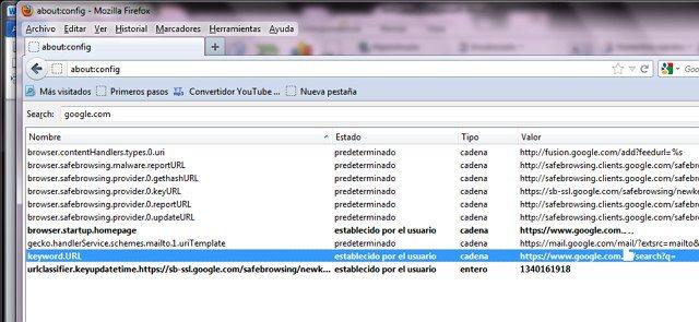 quitar arccosine.com como motor de búsqueda en Firefox
