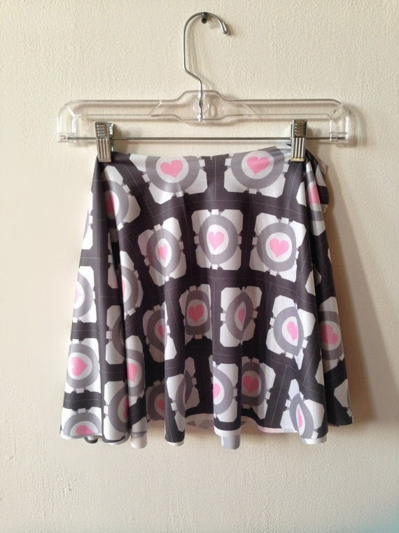 Companion Cube Skater Skirt from Bad Wolf Clothing