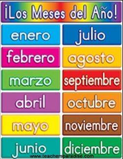 Spanish calendar months new calendar template site
