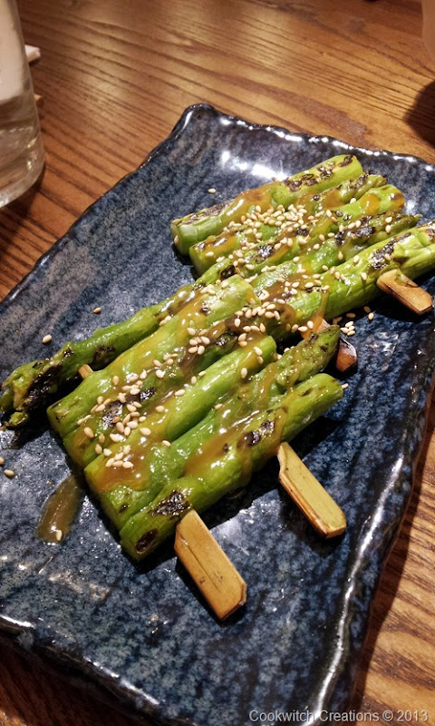 Chargrilled asparagus with white miso